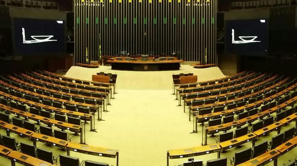 Plenário da Câmara vazio nesta segunda-feira (19) (Foto: Bernardo Caram/G1)