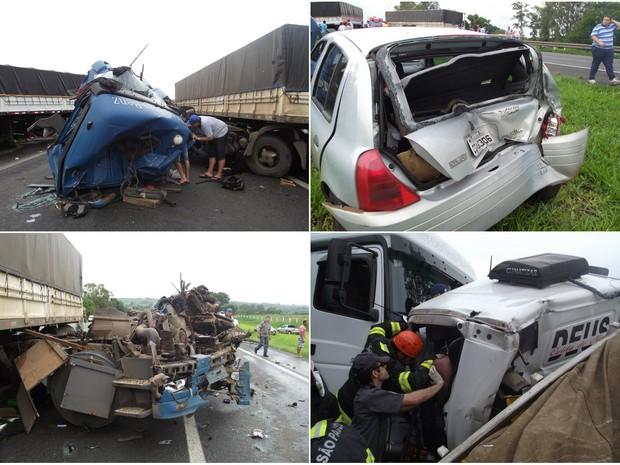 Acidente envolvendo seis veículos deixa feridos em Rodovia Anhanguera em Pirassununga (Foto: Ademir Naressi/Arquivo Pessoal)