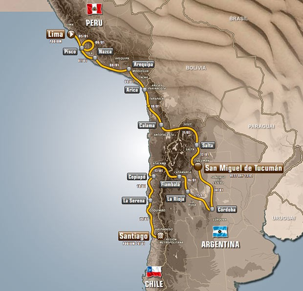 Mapa Rally Dakar (Foto: Divulgação)