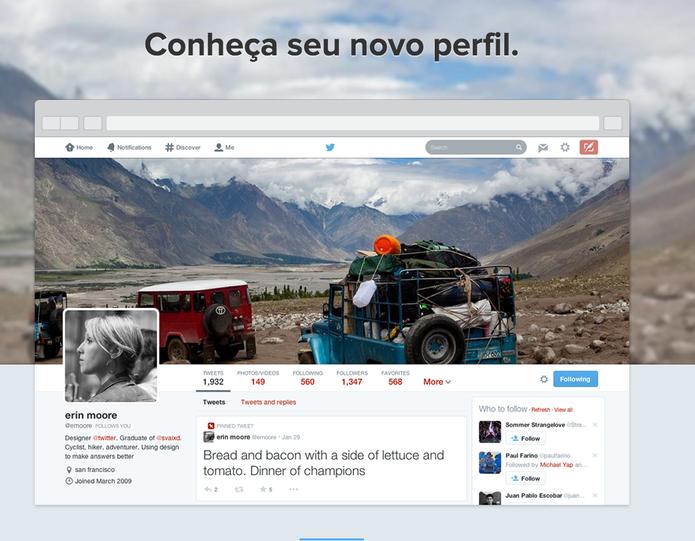 Liberou geral; Twitter abre novo visual do perfil para testes para todos os usuários (Foto: Reprodução/Twitter)