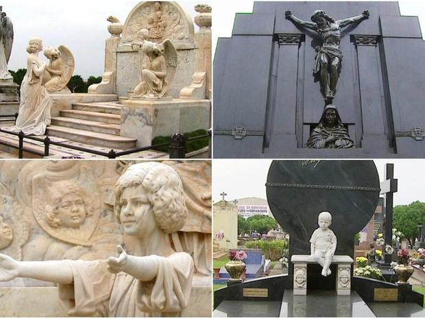 Obras de Fernando Furlanetto fazem de cemitério um museu a céu aberto (Foto: Rodrigo Sargaço/EPTV)