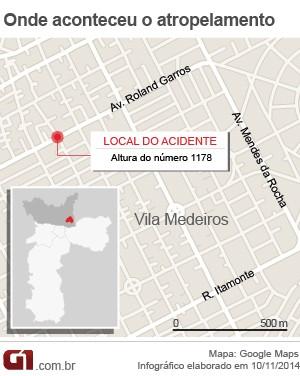 mapa atropelamento vila medeiros (Foto: Arte/G1)