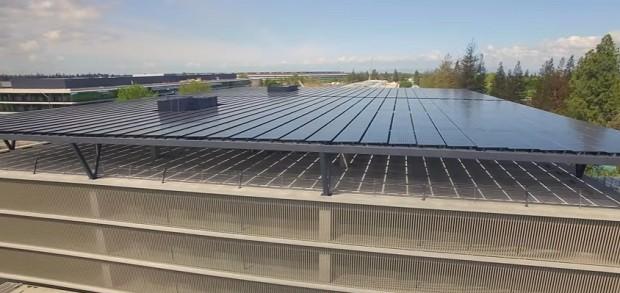 O prédio de estacionamento da nova sede da Apple (Foto: Reprodução/YouTube Matthew Roberts)