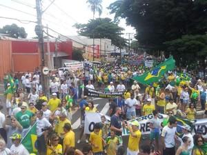 Em Ribeirão Preto, 15 mil pessoas, segundo a Polícia Militar, chegaram à Avenida Presidente Vargas (Foto: Amanda Pioli/G1)