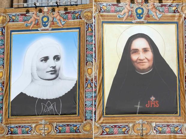 Quadros da irmã Laura Montoya (à esquerda) e da irmã Maria Guadalupe Garcia Zavala (à direita) ficaram pendurados na Basílica de São Pedro durante a missa de canonização liderada pelo Papa Francisco neste domingo (12) (Foto: REUTERS / Stefano Rellandini)