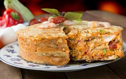 Torta omelete de camarão e ricota sem glúten