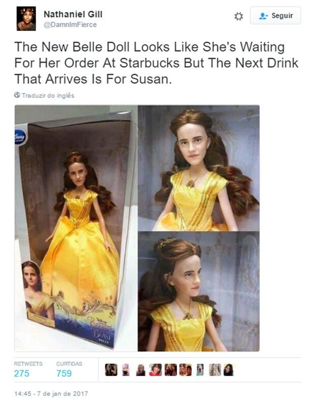 Boneca de Emma Watson como Bela gera piadas na web (Foto: Reprodução)