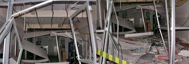 Agência do Bradesco em Carnaubais ficou completamente destruída com a explosão (Foto: Francisco Coelho/Focoelho.com)