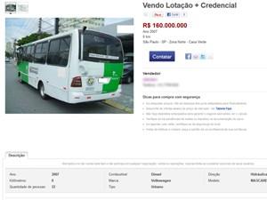 Micro-ônibus que opera na Zona Norte anunciado na internet por R$ 160 mil (Foto: Reprodução)