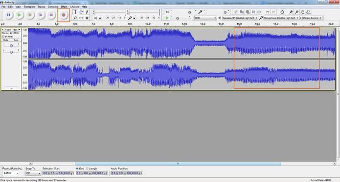 Gravação de áudio pelo Audacity (Foto: Reprodução/Barbara Mannara)