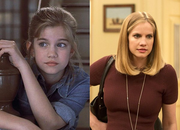 Anna Chlumsky em 'Meu Primeiro Amor' (1991) e na série 'Veep' (2016) (Foto: Divulgação)