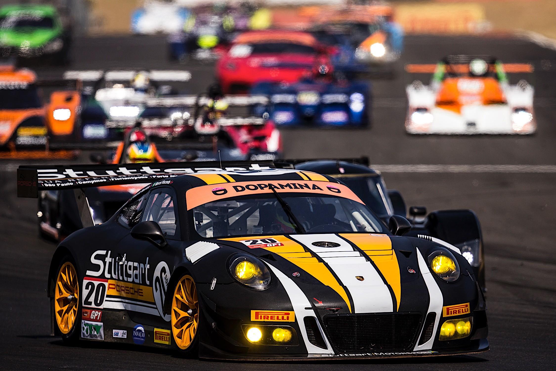 Porsche GT3R #20 - Marcel Visconde Ricardo Maurício Max Wilson P1 na geral e na categoria GP1 (Foto: Bruno Terena)