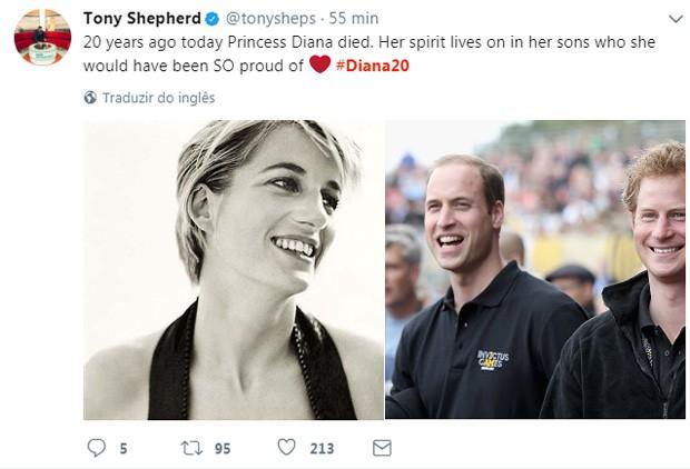 Tony Shepherd relembra morte de Lady Di (Foto: Reprodução/Twitter)