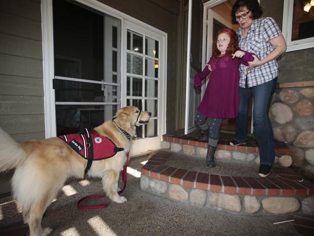 Na imagem, Alyssa aparece com sua avó, Cindy, descendo as escadas de sua casa em Lakewood, na Califórnia. O cão Flint ajuda a criança, que sofre de ataques de epilepsia, a ter uma vida mais normal (Foto: Damian Dovarganes/AP)