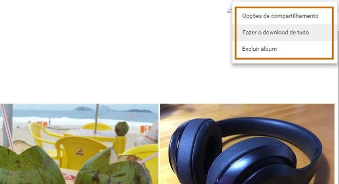 Compartilhe ou faça o download dos itens usando o Google Fotos (Foto: Reprodução/Barbara Mannara)