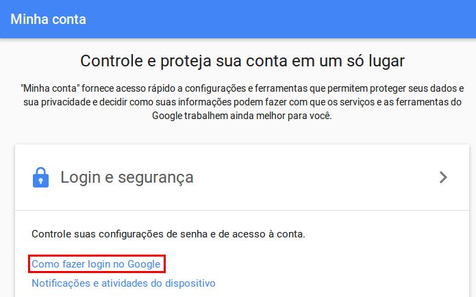 Acessando a opção Como fazer login no Google (Foto: Reprodução/Edivaldo Brito)