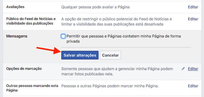 Opção para desativar o bate papo de uma página no Facebook (Foto: Reprodução/Marvin Costa)