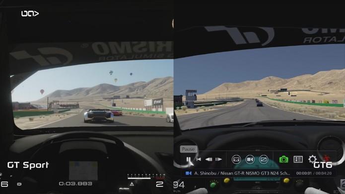 Comparação entre Gran Turismo Sport no PS4 e Gran Turismo 6 no PS3 mostra grande evolução (Foto: Reprodução/YouTube)