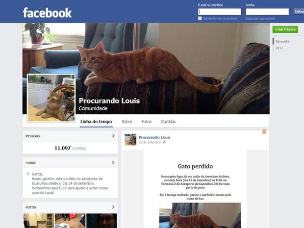 Casal criou página no Facebook para ajudar a localizar Louis. (Foto: Reprodução/Facebook)