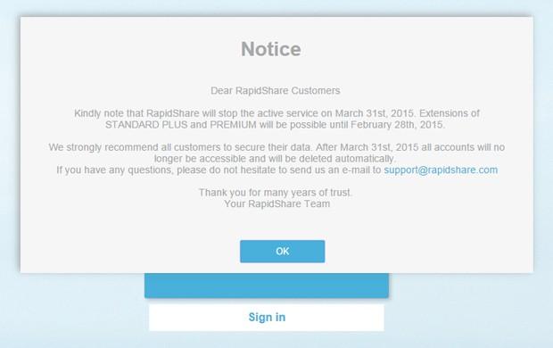 RapidShare anunciou que será encerrado em 31 de março (Foto: Reprodução/RapidShare)