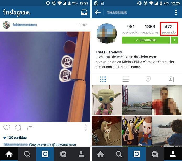 Instagram oferece a chance de conferir se você é seguido de volta através do app oficial (Foto: Reprodução/Elson de Souza)