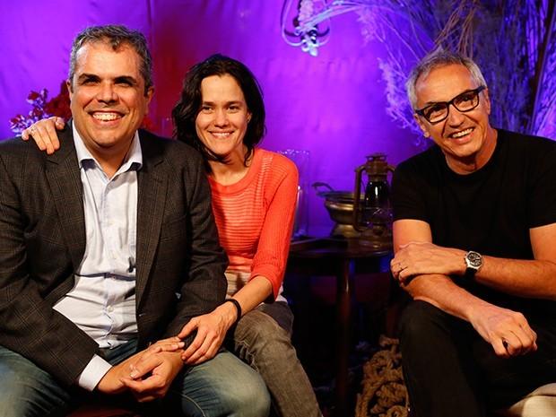 Os diretores Newton Moreno e Flavia Lacerda, e o autor Cláudio Paiva (Foto: Ellen Soares / Gshow)
