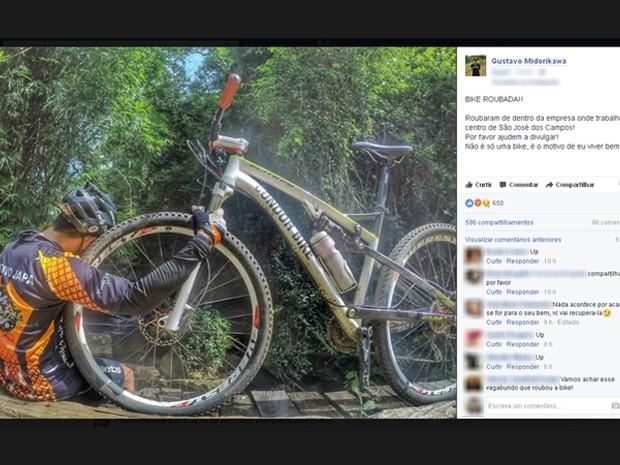 Paratleta tem bicicleta adaptada furtada e mobiliza redes sociais (Foto: Reprodução/ TV Vanguarda)