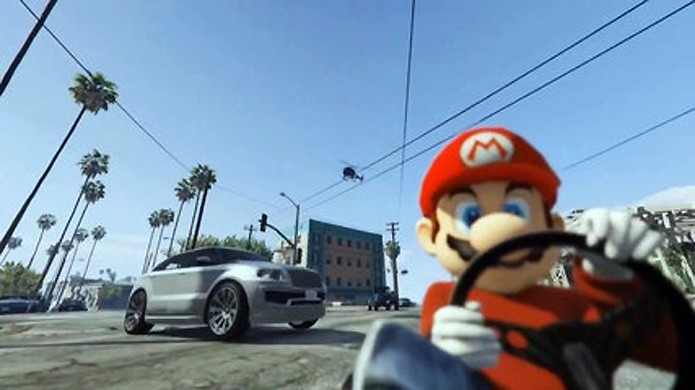 Mario em Los Santos é um dos mods mais engraçados em GTA 5 (Foto: Reprodução/Daily Motion)