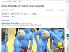 Quatro &#39;smurfs&#39; so presos acusados de agresso na Austrlia