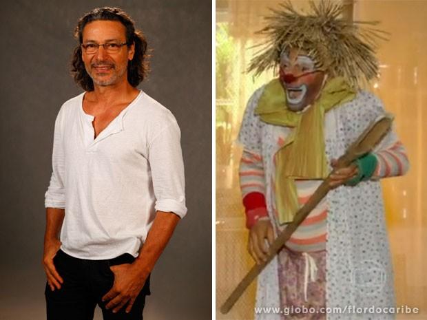 Palhaço Xuxu acompanha Luiz Carlos Vasconcelos há 35 anos (Foto: Flor do Caribe / TV Globo)