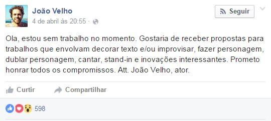 João Velho (Foto: Reprodução/Facebook)