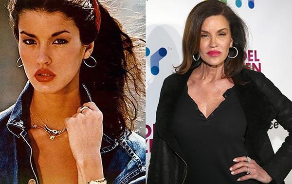 Janice Dickinson em meados dos anos 1980 e em 2015 (Foto: Reprodução / Getty Images)