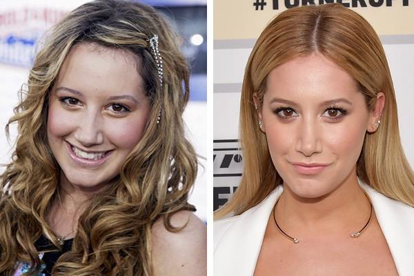Ashley Tisdale em 2004 e em 2015 (Foto: Getty Images)
