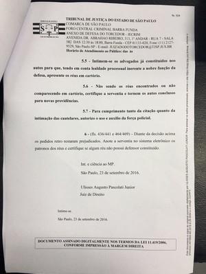 Decisão judicial invasores CT São Paulo (Foto: Divulgação)