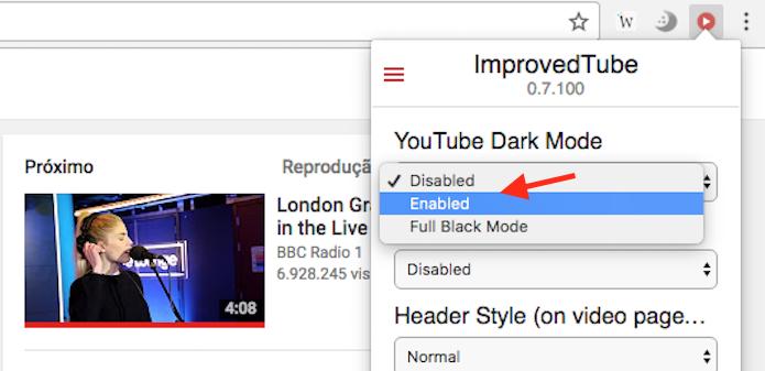 Opção para ativar o modo escuro do YouTube com a extensão ImprovedTube (Foto: Reprodução/Marvin Costa)