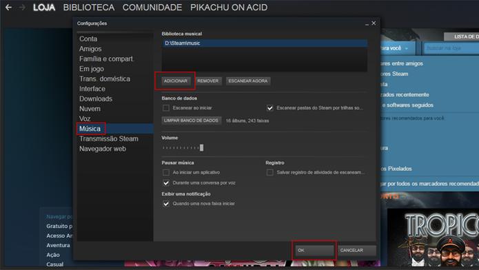 """Clique no botão """"Adicionar"""" e navegue entre as pastas do computador para selecionar as que deseja (Foto: Reprodução/Tamirys Seno) (Foto: Divulgação)"""