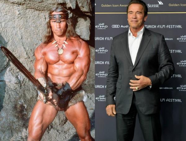 Arnold Schwarzenegger: Conan aos 35 anos e ex-governador aos 68 (Foto: Getty Images/Divulgação)