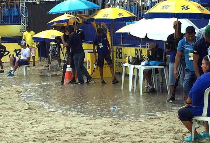 Pedro e Evandro e do temporal no vôlei de praia (Foto: Gabriel Fricke)