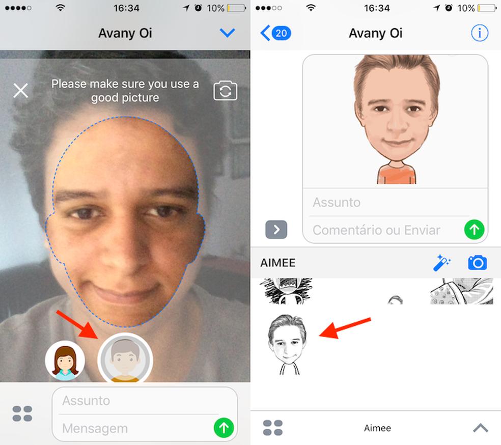Opção para criar uma GIF com o Aimee para iPhone (Foto: Reprodução/Marvin Costa)
