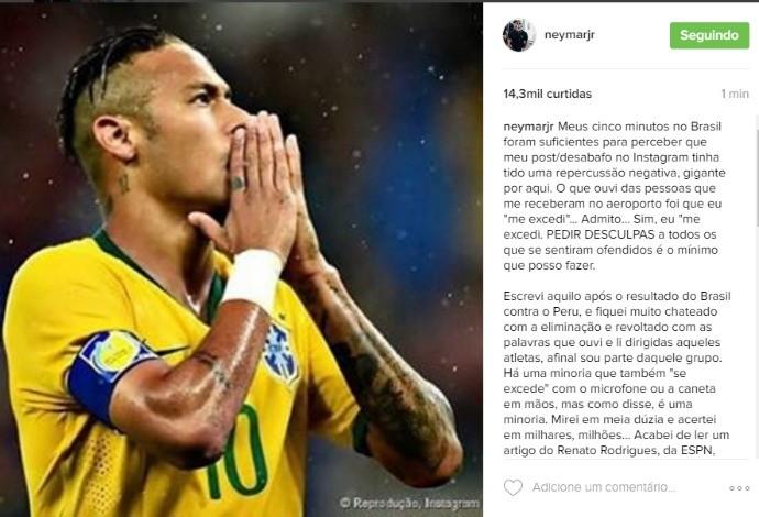 Neymar post instagram pedido de desculpas seleção brasileira