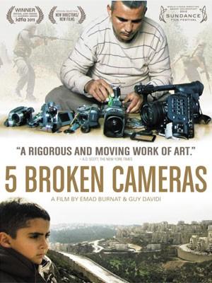 Cartaz do documentário '5 broken cameras', indicado ao Oscar em 2013; longa trata da luta dos palestinos contra a ocupação de Israel (Foto: Divulgação)