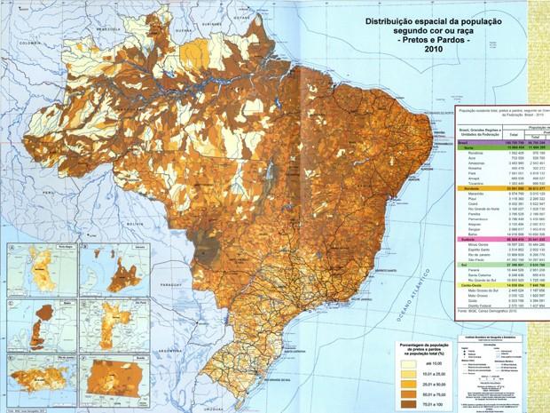 Mapa da distribuição espacial da população segundo a cor ou raça, elaborado pelo IBGE (Foto: Reprodução)