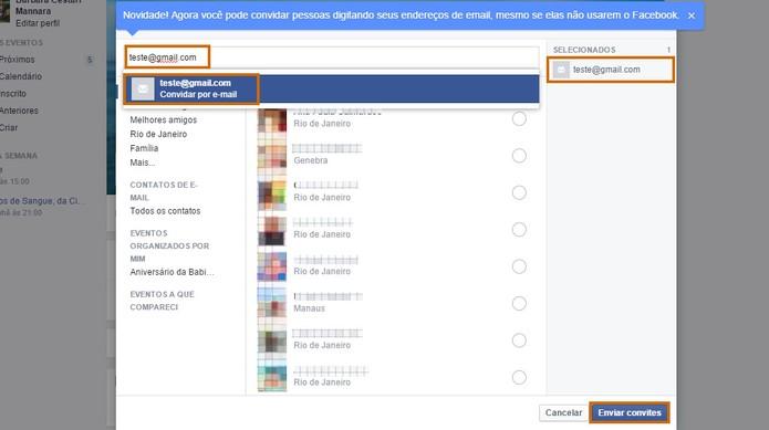 Adicione o e-mail do seu amigo sem a conta do Facebook e confirme a ação (Foto: Reprodução/Barbara Mannara)