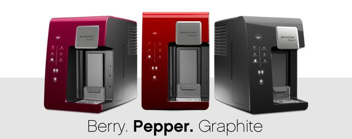 A Brastemp B. blend está disponível nas cores graphite (grafite), pepper (vermelha) e berry (roxa) (Divulgação/ bblend.com)