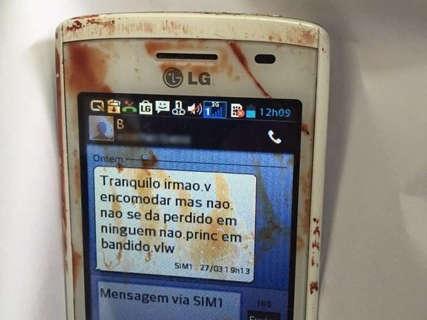 Celular do suspeito tinha mensagem que levou polícia a desvendar o homicídio (Foto: Divulgação/Polícia Civil)