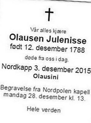 Obituário foi publicado na quinta-feira no site do jornal Aftenposten (Foto: Reprodução)