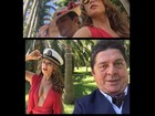 Mariana Ximenes posa decotadíssima com Stepan Nercessian