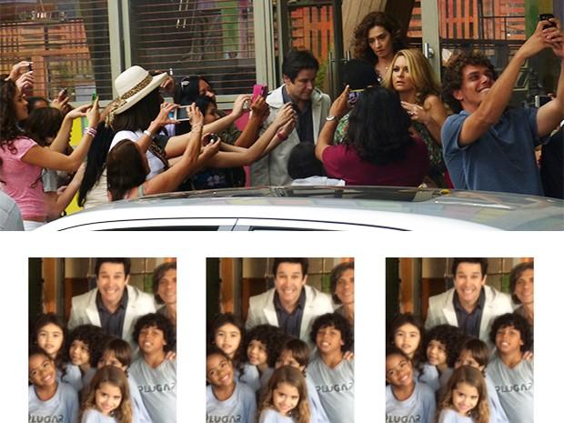 Jonas Marra assediado pelos fãs na porta da ONG Plugar (Foto: Fato na Rede)
