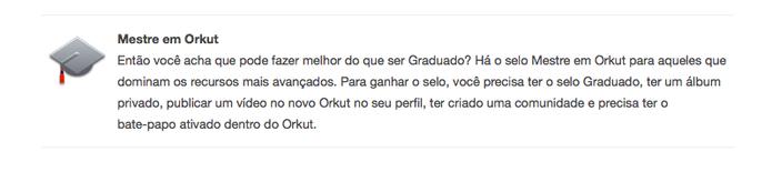 Selo de mestre em Orkut (Foto: Reprodução/Google/Orkut)