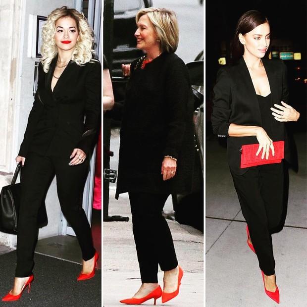 Rita Ora, Hillary Clinton e Irina Shayk: terninho preto com acessórios vermelhos (Foto: Reprodução)